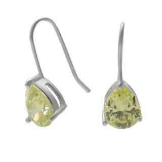 Silvertone Brass Lime Green Pear-cut Cubic Zirconia Dangle Earrings