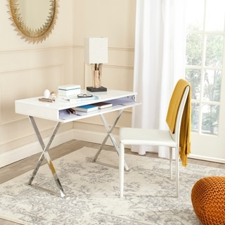 Safavieh Gordon White/ Chrome Desk