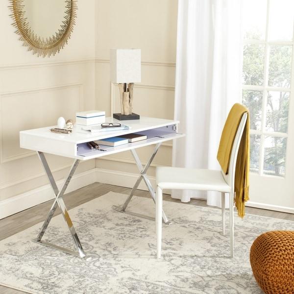 Shop Safavieh Modern Glam Gordon White/ Chrome Desk