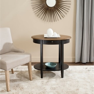 Safavieh Monica Black Oak Oval End Table
