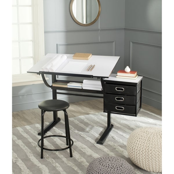 shop safavieh harvard modern black/ white writing desk