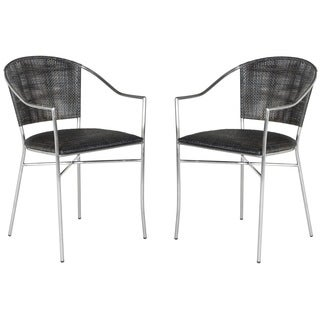 Safavieh Rural Woven Dining Melita Black Arm Chairs (Set of 2)