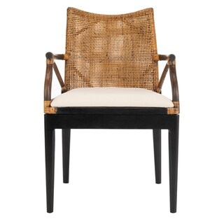 Safavieh Rural Woven Dining Gianni Brown/ White Cushion Arm Chair