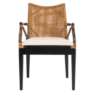 Safavieh Rural Woven Dining Gianni Brown/ White Cushion Arm Chair