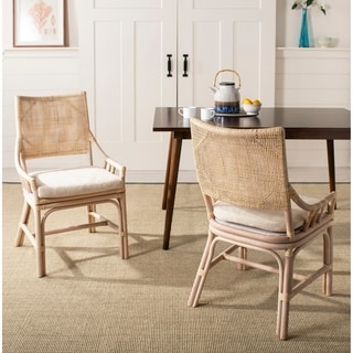 Safavieh Rural Woven Dining Donatella Natural White Wash Chair