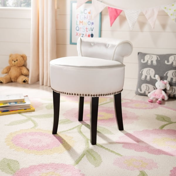 Outstanding Shop Safavieh Georgia White Vanity Stool On Sale Free Machost Co Dining Chair Design Ideas Machostcouk