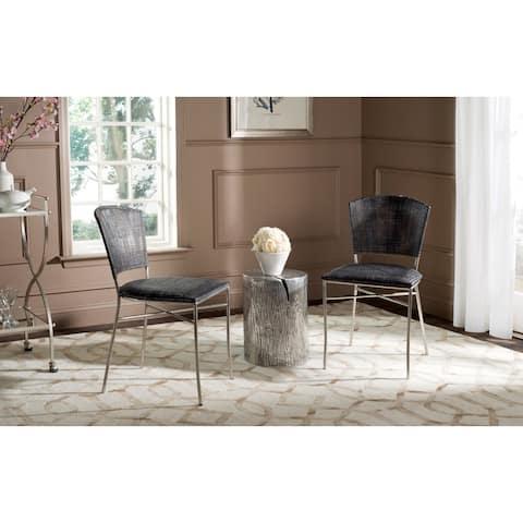 "Safavieh Dining Rural Woven Melita Black Dining Chairs (Set of 2) - 17.5""x21.8""x33.3"""
