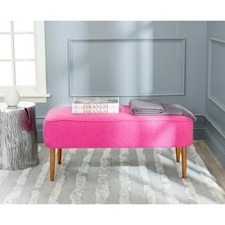 Safavieh Mid-Century Levi Berry Pink Wool Bench