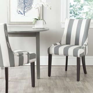 Safavieh En Vogue Dining Lester Grey/ Bone Stripe Side Chairs (Set of 2)