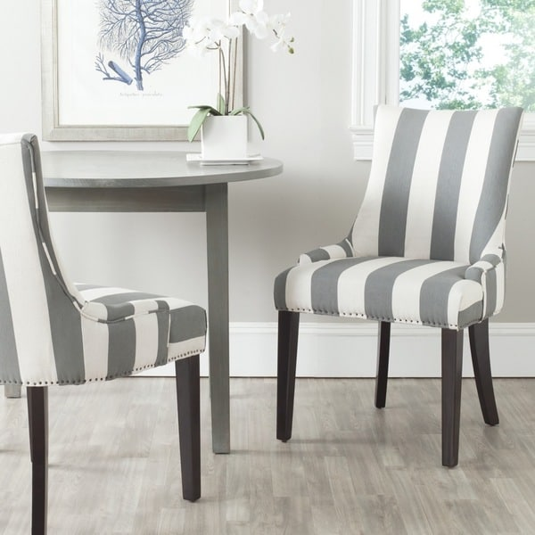 Striped Dining Room Chairs: Shop Safavieh En Vogue Dining Lester Grey/ Bone Stripe