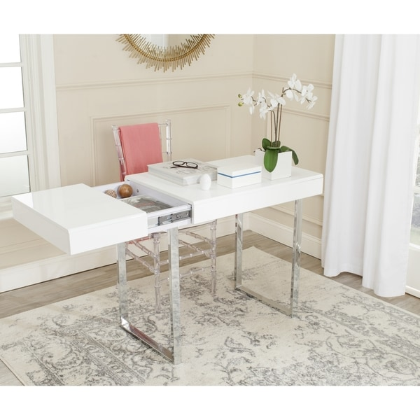 Safavieh Modern Glam Berkley Modern White Chrome Desk Free