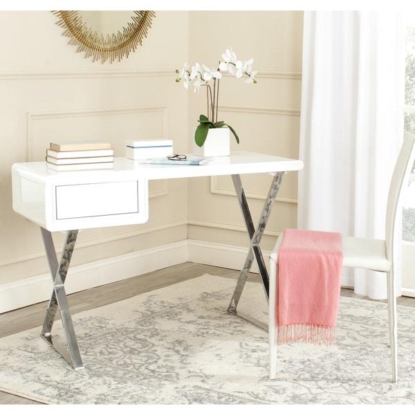 Popular Safavieh Modern Glam Hanover White/ Chrome Desk - Free Shipping  CH81