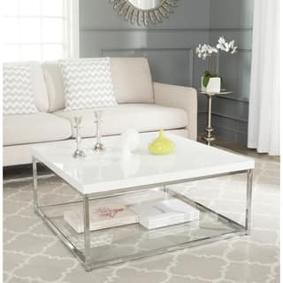 Safavieh Malone White Chrome Coffee Table