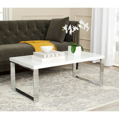 "Safavieh Rockford White/ Chrome Glam Coffee Table - 43.3"" x 23.6"" x 16.5"""