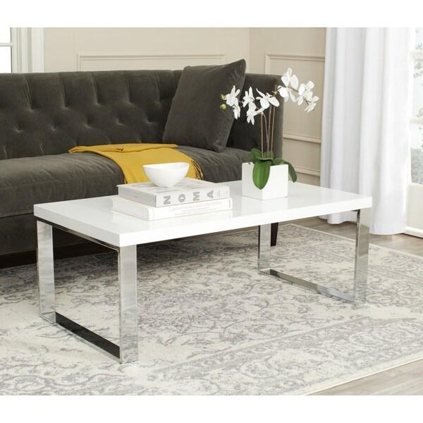 White And Chrome Coffee Table: Shop Safavieh Rockford White/ Chrome Coffee Table