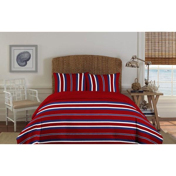 Nautica Bairstone Red 3-piece Cotton Comforter Set