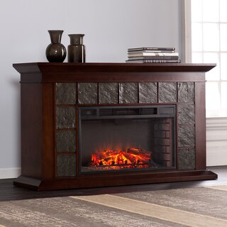 Oliver & James Leng 60-inch Warm Brown Walnut Electric Fireplace
