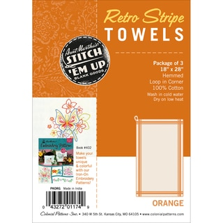 "Stitch 'Em Up Vintage Box Stripe Dish Towels 18""X28"" 3/Pkg-Orange On Natural"
