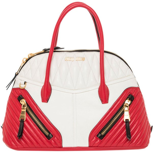 Miu Miu Matelasse Red and White Nappa Leather Top-handle Bag