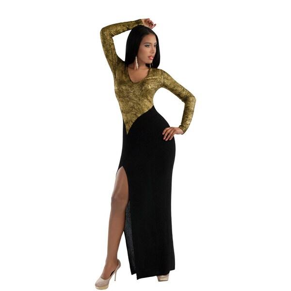 Shop Kayla Collection Womens Two Tone Metallic And Black Maxi Dress