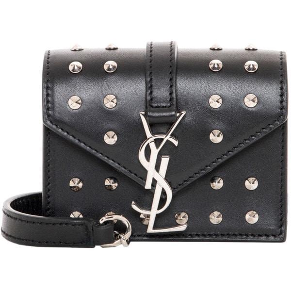 Saint Laurent 'Candy' Black Studded Leather Monogram Bag