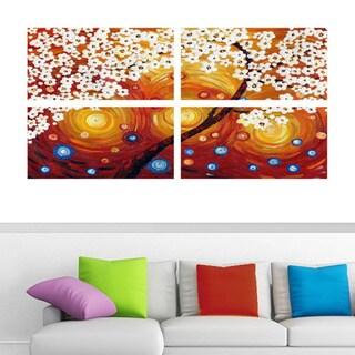 Abstract 'Warm Orange & Red Flower' 4-piece Canvas Art - Orange/Red