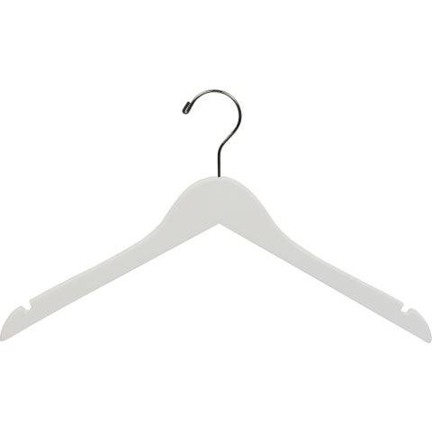 White Wooden Top Hangers with Notches