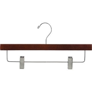 Wooden Walnut Finish Bottom Hangers with Brass Hooks