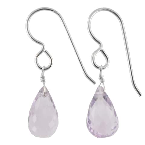 Pink Amethyst Gemstone Silver Handmade Earrings