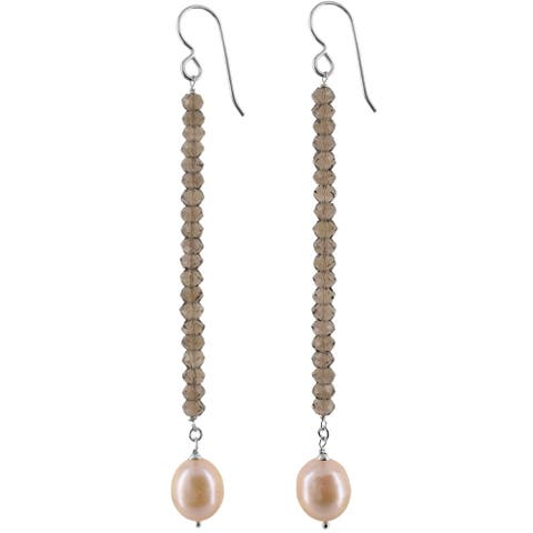 Silver Freshwater Pearl and Smokey Quartz Handmade Earrings