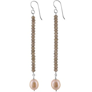 Ashanti Sterling Silver Freshwater Pearl and Smokey Quartz Handmade Earrings (Sri Lanka)