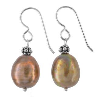 Ashanti Sterling Silver Bronze Freshwater Pearl Handmade Earrings (Sri Lanka)