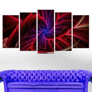 Abstract 'Purple & Red Entanglement' 5-piece Canvas Art Print