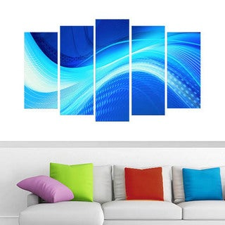 Abstract 'Blue Hues' 5-piece Gallery-wrapped Canvas