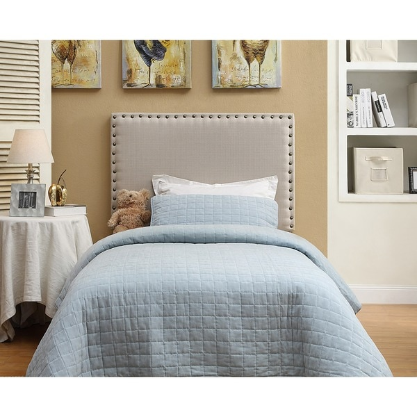 leon twin 39inch linen nailhead headboard only