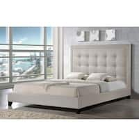Baxton Studio Hirst Light Beige Linen Bed with Upholstered Headboard