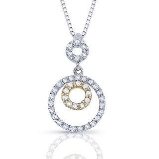 14k Two-tone Diamond Accent Circle Necklace