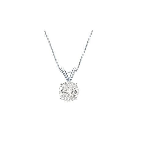 Auriya 1 1/4ctw Clarity Enhanced Round Solitaire Diamond Necklace 14k Gold