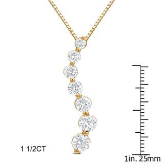 Auriya 14k Gold 1 1/2ct or 2ct TDW Journey Diamond Necklace (H-I, SI1-SI2)