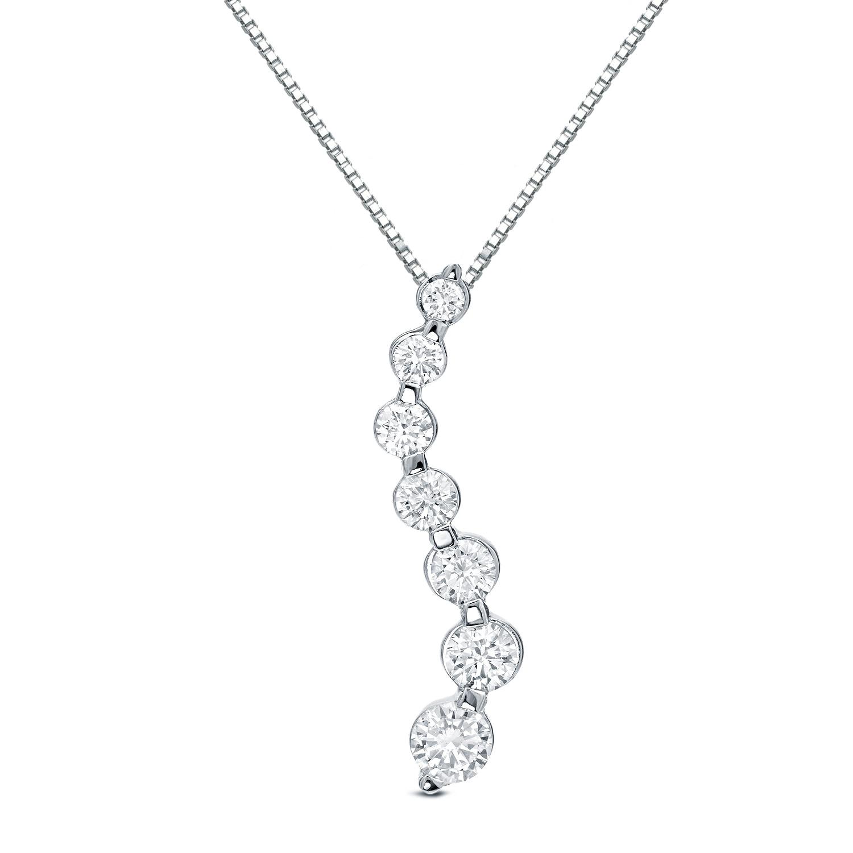 Auriya 14k Gold Seven Diamond Journey Pendant Necklace (1...