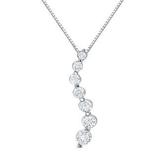 14k Gold 1 1/2ct to 2 1/2ct TDW Seven Stone Diamond Journey Necklace by Auriya