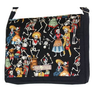 Handmade Medium Black Day of the Dead Dancing Skeletons Messenger Bag