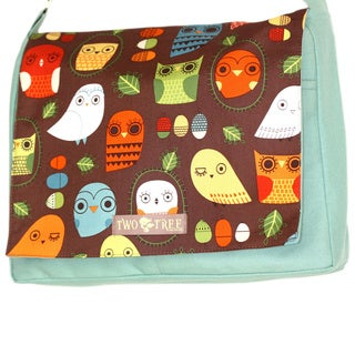 Handmade Medium Mint Owl Messenger Bag