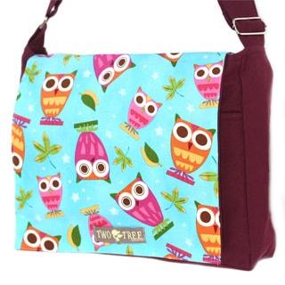 Handmade Medium Burgundy Owls on a Whim Messenger Bag
