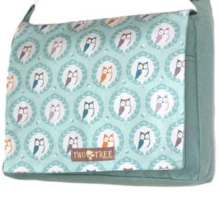 Handmade Medium Mint Owl Crest Messenger Bag