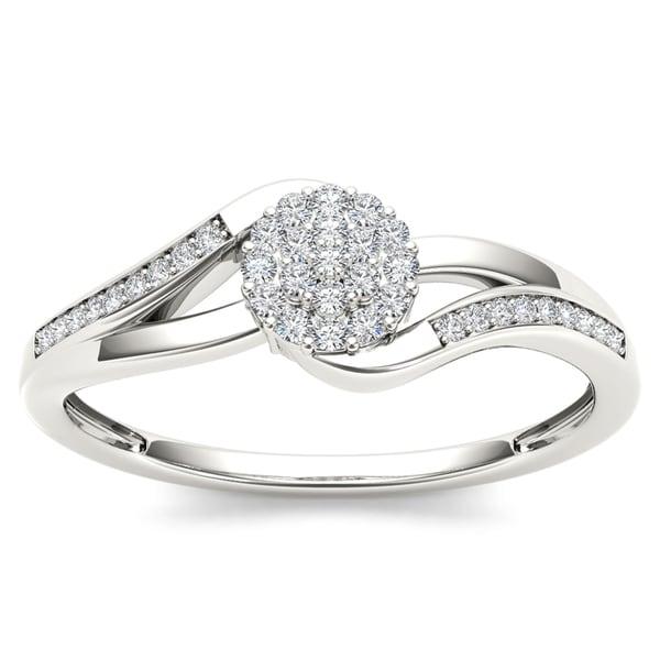 De Couer 10k White Gold 1/8ct TDW Diamond Cluster Fashion Ring
