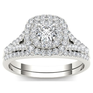 De couer 10k White Gold 1ct TDW Diamond Halo Engagement Ring (H-I, I2)