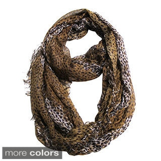 Le Nom Metallic Sheer Animal Print Infinity Scarf
