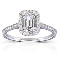 Annello by Kobelli 14k White Gold 1 1/3ct TGW Emerald-cut Moissanite and Diamond Halo Engagement Ring