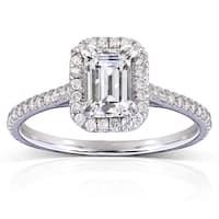 Annello by Kobelli 14k White Gold 1 1/3ct TGW Emerald-cut Moissanite (HI) and Diamond Halo Engagement Ring